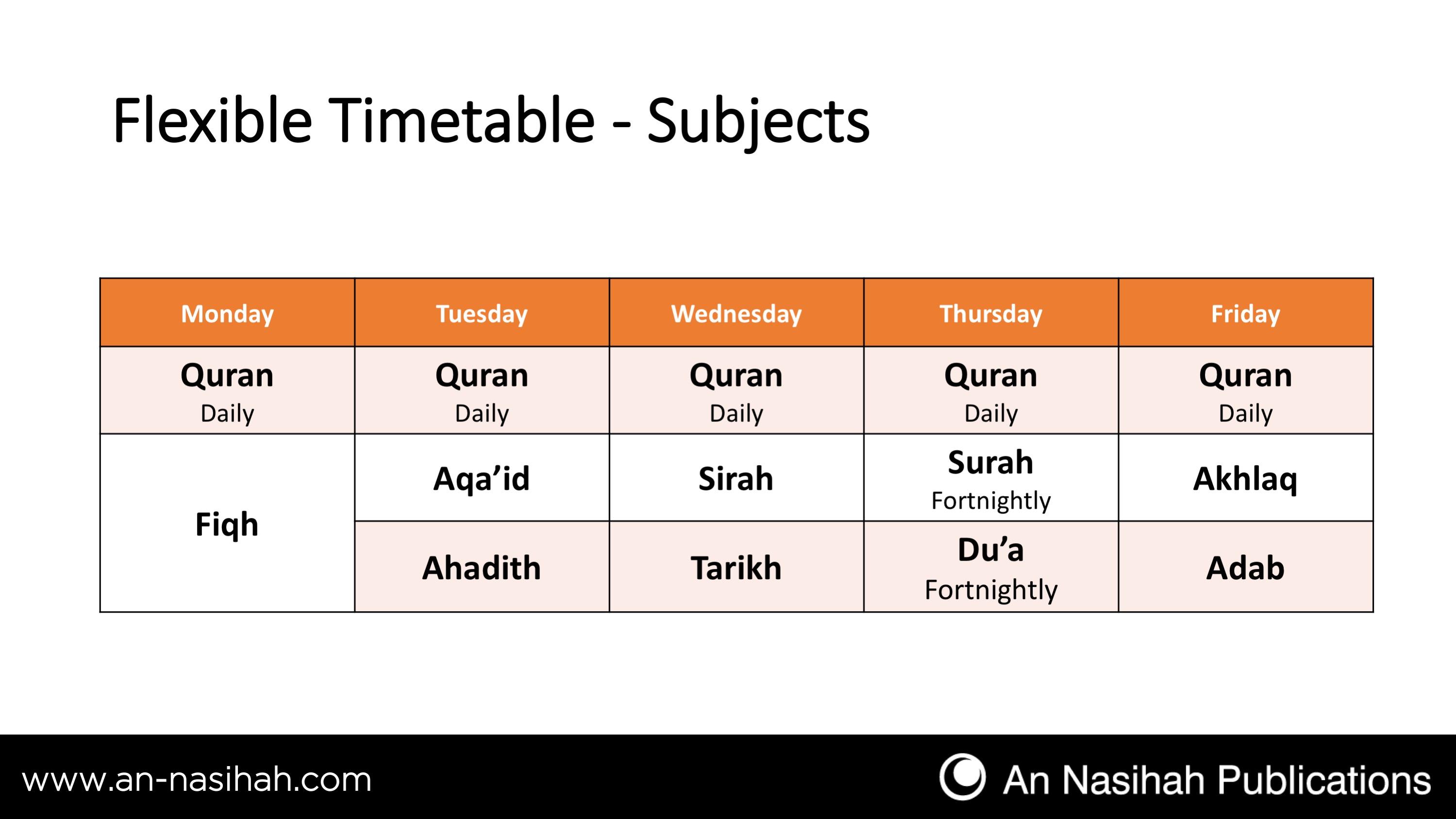Timetable | An Nasihah Publications