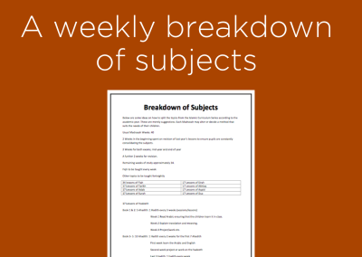 A weekly breakdown of subjects