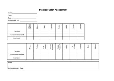 Salah Assessment Sheet