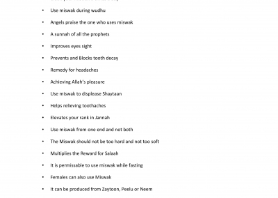 Benefits of Miswak – List