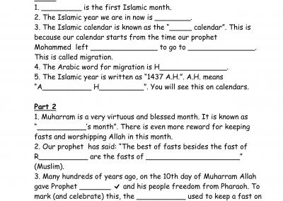 Muharram Worksheet