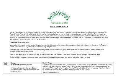 Tarbiyah- Amal of the Week