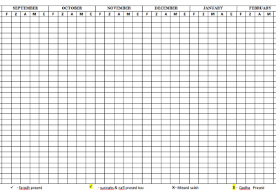 Salah chart for the Year