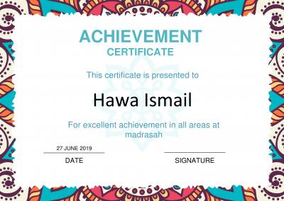 Excellent Achievement Certificate