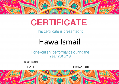 Excellent Performance Certificate