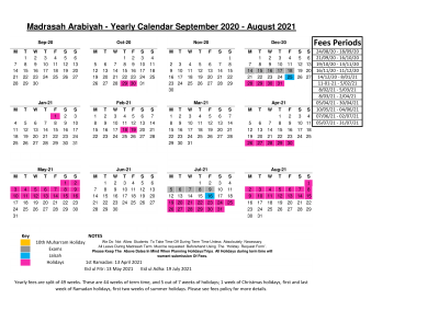 Academic Year Calendar Template 2020/2021