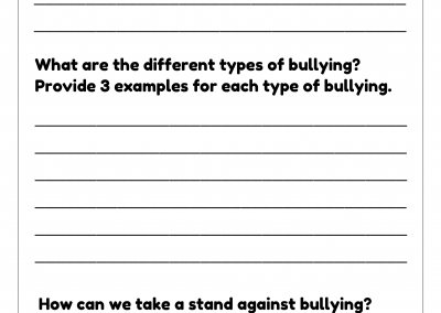Anti Bullying 2020 – Question Worksheet